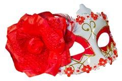 Carnival mask bow decoration flowers border  white Royalty Free Stock Photo