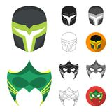 Carnival mask cartoon,black,flat,monochrome,outline icons in set collection for design.Mask on the eyes and face vector. Symbol stock  illustration Stock Photos