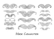 Carnival mask collection, sketch for your design Stock Photos