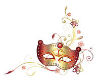 Carnival, mask. Colorful carnival decoration, mask in golden and red Stock Photography