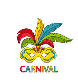 Carnival Mask with Colorful Feathers Isolated Royalty Free Stock Photo