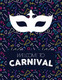 Carnival mask on colorful retro background. Colorful retro line art background with carnival mask silhouette and text label. EPS10 vector Royalty Free Stock Image