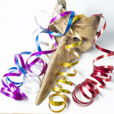 Carnival mask with colorful streamers Royalty Free Stock Photo