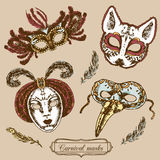 Carnival mask composition set Royalty Free Stock Photos