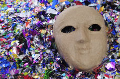 Carnival mask and confetti Royalty Free Stock Photography
