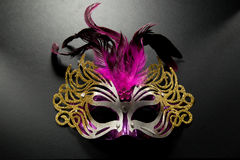 Carnival mask on dark backgroud. Carnival mask with pink feather on dark backgroud Stock Images