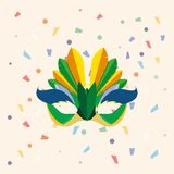 Carnival mask design. Carnival mask and decorative confetti around  over white background, colorful design vector illustration Stock Images
