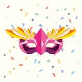 Carnival mask design. Carnival mask and decorative confetti around  over white background, colorful design vector illustration Stock Photo