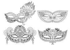 Carnival mask designs for coloring book for adult. Carnival mask designs for coloring book  for adult Royalty Free Stock Image