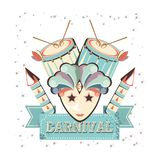 Carnival mask with drums vector illustration