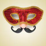 Carnival mask with fake nose and moustache Stock Images