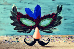 Carnival mask with fake nose and mustache Stock Images