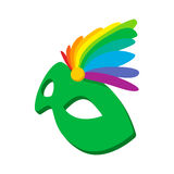 Carnival mask with feathers icon, cartoon style. Carnival mask with feathers icon in cartoon style on a white background vector illustration