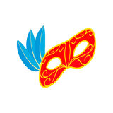 Carnival mask with feathers icon, isometric 3d Stock Photography