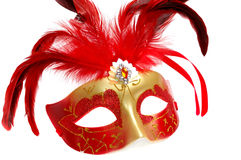 Carnival mask with feathers isolated on white Royalty Free Stock Photo