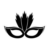 Carnival mask with feathers pictogram. Illustration eps 10 Stock Photography