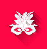 Carnival mask with feathers with shadows, trendy flat style Stock Photos