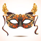 Carnival mask with feathers vector illustrations Stock Images