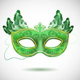 Carnival mask with feathers vector illustrations Royalty Free Stock Images