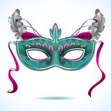 Carnival mask with feathers vector illustrations Royalty Free Stock Photography