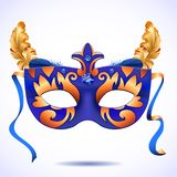 Carnival mask with feathers vector illustrations Royalty Free Stock Photos