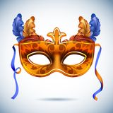 Carnival mask with feathers vector illustrations Stock Photography