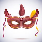 Carnival mask with feathers vector illustrations Royalty Free Stock Photo