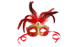 Carnival mask with feathers on white Stock Photography