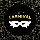 Carnival mask on gold line art background Stock Photo