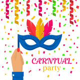 Carnival mask in hand. Carnival mask with feathers hold in hand woman. Festive abstract background streamer and confetti. Happy Carnival Festive. Vector Stock Photo