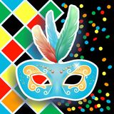 Carnival mask on harlequin background Royalty Free Stock Photography