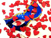 Carnival mask with hearts Royalty Free Stock Photos