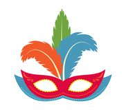 Carnival mask icon, flat, cartoon style. Masquerade, holiday party concept. Isolated on white background. Vector Royalty Free Stock Photography