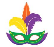 Carnival mask icon, flat, cartoon style. Masquerade, holiday party concept. Isolated on white background. Vector Stock Photos