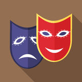 Carnival mask icon, flat style. Carnival mask icon in flat style with long shadow. Events and parties symbol Royalty Free Stock Images
