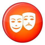 Carnival mask icon, flat style. Carnival mask icon in red circle isolated on white background vector illustration Royalty Free Stock Photography