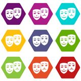 Carnival mask icon set color hexahedron Stock Photo
