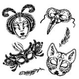 Carnival mask icon sketch set. Carnival Venetian style full face and eye feather festive masks icons set sketch doodle vector isolated illustration Royalty Free Stock Image