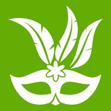 Carnival mask icon green. Carnival mask icon white isolated on green background. Vector illustration vector illustration