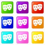 Carnival mask icons 9 set. Carnival mask icons of 9 color set isolated vector illustration Stock Photos