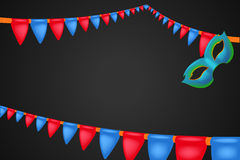 Carnival mask 12. Illustration of carnival ribbons with red abd blue color and mask Stock Photo