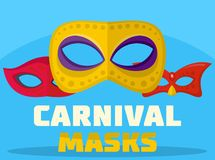 Carnival mask logo, flat style. Carnival mask logo. Flat illustration of carnival mask logo for web Stock Illustration