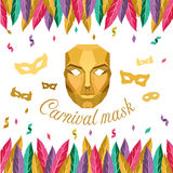Carnival mask with Low poly Gold mask and feather vector design vector illustration