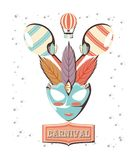 Carnival mask with maracas royalty free illustration