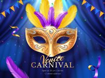 Carnival mask at mardi gras parade banner. Carnival or masquerade colombina golden mask at mardi gras parade banner. Fat tuesday poster with feather and flags vector illustration