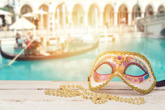 Free Carnival Mask Over Blurred Venetian Background With Gondola Boat Stock Images - 84552534