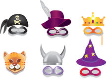 Carnival mask,purim mask. Six carnival masks on the white background:pirates scarf,cap with plume,crown,cat,helmet,cap of magician Stock Photos