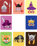 Carnival mask,purim mask. Masks icons:helmet,cap with plume,pirates scarf,crown,cap of magician,cap of devil,cat,helmet with horns Stock Photo