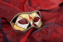 Carnival mask on red background Royalty Free Stock Image