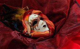 Carnival mask on red background Royalty Free Stock Photo
